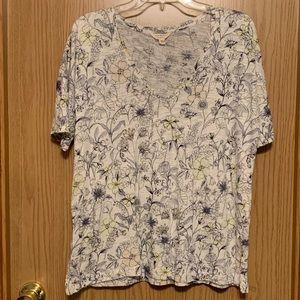 Lucky Brand Floral V Neck T Shirt Medium